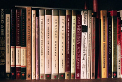 Showa Fiction (Jetcraftsofa) Tags: nikonf3 nikkor2828ai natura1600 35nn slr filmphotography books availablelight showa kawabata abe mishima tanizaki midcentury grain dazai enchi
