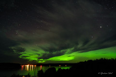 Deck lights (grahamvphoto) Tags: sky night dark northernlights auroraborealis canada travel vancouverisland bc britishcolumbia green stars
