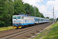 163065 Chvaletice by Gridboy56 - Ceske Drahy 163065 with 'CD PRO VAS' advertising  passes Chvaletice with a stopping service to Kolin on 11/7/16.