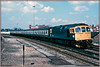 33051, Millbrook (Jason 87030) Tags: frame border slide scan br blue britishrail 1986 89 portsmouth harbour cardioff passenger working milbrook station soton southampton april brblue sulzer crompton class33 old vintage classic nice diesel locomotive