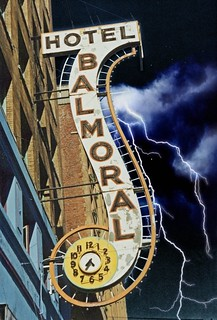 Vancouver British Columbia - Canada  - Hotel Balmoral - Neon Sign With Clock - Vintage