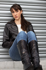 Natalie 75 (The Booted Cat) Tags: sexy brunette long hair girl model leather jacket tight jeans denim heels highheels boots