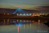 Boyne Cable bridge at twilight (mythicalireland) Tags: brigde m1 motorway river boyne valley drogheda louth meath lights dusk blue hour twilight reflection