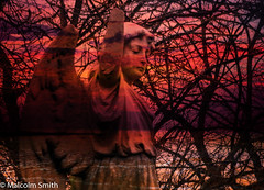 The Sad Angel (M C Smith) Tags: angel sad red waves trees branches pentax k3 statue