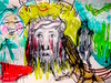 Mockers With Resurgent Faun (giveawayboy) Tags: pencil crayon eraser erasure drawing sketch art acrylic paint painting fch tampa artist giveawayboy billrogers mockers jesus christ mockery