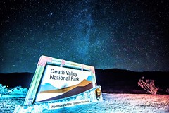 Welcome sign to Death Valley National Park California at night (DigiDreamGrafix.com) Tags: park death national valley california red blue view stone sky beautiful awe human travel outdoors nature natural mountain landscape sunset horizon american usa range rock scenic wild famous sand point hiking western west icons monument desert arizona great america destinations sandstone indian images inspirational canyon inspiring badlands southwest dunes hikers night milkyway stars