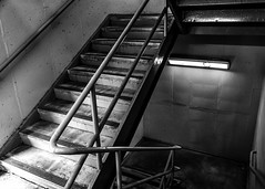 Stairwell To Nowhere (that_damn_duck) Tags: blackwhite monochrome stairs stairwell concrete handrails bw blackandwhite