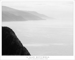 Land And Sea (G Dan Mitchell) Tags: bigsur coast pacific ocean mountains cliff blackandwhite monochrome sky highkey california usa north america landscape nature seascape
