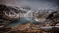 Heart of the mountains (Einir Wyn Leigh) Tags: landscape weather winter lake water snow snowdonia mountains light walking outside nature land cloud rocks