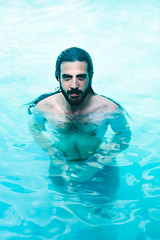 Ivan de agua (ornellasimone) Tags: portrait sea pool water blue man longhair beard style beauty swim swimming floating sexy sensual look