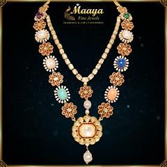 Detachable Navaratna Necklace - Maaya Fine Jewels (maayacomms) Tags: diamondjewelry uncutdiamondjewelry navratna necklace pearls gold jewelry south indian shop nj new jersey maayafinejewels