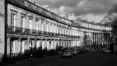 charming crescent 01 (byronv2) Tags: stbernardscrescent saintbernardscrescent crescent street architecture building neoclassical blackandwhite blackwhite bw monochrome dean deanvillage sunny sunlight stockbridge townhouse edinburgh edimbourg scotland
