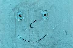 Minimalism (natures-pencil) Tags: wall blue abstract rawplugs holed eyes nose mouth face perception texture paint