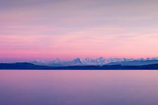 Last Sunset Light over the Ensnowed Trinity - Neuchâtel - Switzerland