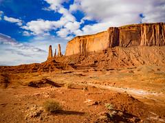 Three Sisters (zankoutim) Tags: arizona utah butte monumentvalley desert bluesky