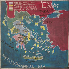 5th Grade: Ancient History and Mythology; Greece: Map (ArneKaiser) Tags: 5thgrade 5thgradefarewell ancienthistoryandmythology edited greece mrkaisersclass pineforestschool waldorf chalk chalkboard chalkdrawings
