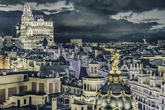 Madrid Cityscape Night Scene Aerial View (Daniel Ferreira-Leites) Tags: ifttt 500px sky city downtown travel night buildings clouds tower urban architecture cityscape scene view aerial spain skyline madrid old town modern viewpoint district landmark capital south america destination above churches overlook steeple bell building exterior touristic international square