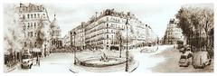 Paris - France - pl. E Rostang - le Panthéon (guymoll) Tags: paris france googleearthstreetview ville town panthéon immeubles crayon sketch croquis fontaine drawing dessin