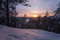 View (laurilehtophotography) Tags: vaajakoski koskenvuori talvi2018 suomi finland landscape sunset clouds winter snow ice trees forest hill mountain nature nikon d610 sigma 20mm art amazing europe evening city town light shadow