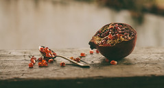 Pomegranate (Inka56) Tags: 7dwf flora pomegranate fruit woodtable spoon seeds bokeh pentaxm11450mm manualfocus dof pentaxart