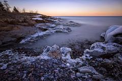 Shore Diamonds (karenhunnicutt) Tags: hollowrock northshore grandportage minnesota lakesuperior cold winter ice longexposure sunrise rocks trees karenhunnicuttphotography