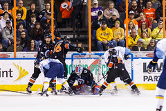 "Kansas City Mavericks vs. Toledo Walleye, January 20, 2018, Silverstein Eye Centers Arena, Independence, Missouri.  Photo: © John Howe / Howe Creative Photography, all rights reserved 2018. • <a style=""font-size:0.8em;"" href=""http://www.flickr.com/photos/134016632@N02/28060651819/"" target=""_blank"">View on Flickr</a>"