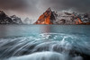 Rising Tides - Norway (Mr F1) Tags: norway johnfanning risingtides water ocean sea le longexposure movement hamnoy mountains mountain sunset dusk colour snow ice coldfreezing outdoors nature warm warmth glow red orange sky moody clouds seacape