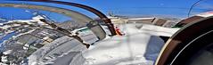 Weird, Snowy Panorama (sjrankin) Tags: 21february2018 edited snow snowbank weather road sidewalk sky clear car cars building panorama