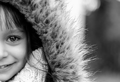 It's in your eyes (Bai R.) Tags: bn bw winter cold eyes black girl smile joy happy happiness