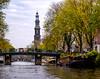 River Cruise-0671.jpg (Amadeus1110) Tags: canals amsterdam rivercruise netherlands amsterdamcanals church tower belltower churchtower houseboats amsterdamhouseboats bikes westerkerk bicycles