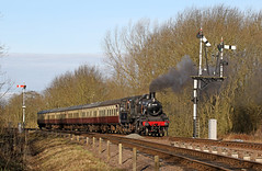 78018 - Swithland sidings (Andrew Edkins) Tags: 78018 britishrailways standard2 steamtrain swithland semaphoresignals sun morning railwayphotography travel trip greatcentralrailway preservedrailway geotagged canon light january 2018 winter steamgala leicestershire england uksteam
