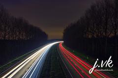Long exposure shot (jornvk) Tags: longexposure cartrails highway belgium winter lights night dark trees cars greatphotographers road tree sky trails speed