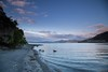 calm and peaceful lakeshore in early morning light, Te Urewera National Park (hueymilunz) Tags: nz newzealandtransition newzealand hawkesbay lake water sunrise blue sky landscape