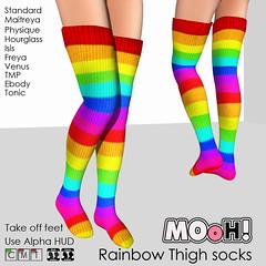 Rainbow thigh socks (Dalriada Delwood) Tags: mooh toda truth dare his shirt rainbow socks sl second life fachion