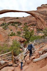 Violet & Mommy At Landscape Arch (Joe Shlabotnik) Tags: november2017 sue moab arches proudparents nationalpark landscapearch archesnationalpark utah violet 2017 arch afsdxvrzoomnikkor18105mmf3556ged