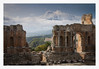 Mount Etna and Greek Theatre, Taormina, Sicily (MixPix ) Tags: sicily italy taormina greektheatre mountetna snow clouds ruin