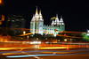 Salt Lake City by night. Traffic in front of the Salt Lake Temple (Andrey Sulitskiy) Tags: usa utah saltlakecity
