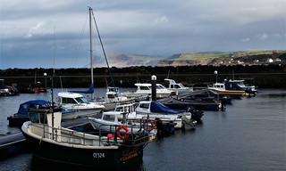 Ballycastle, Co. Antrim:  the harbour looking across to Fair Head