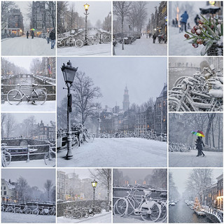 Old Amsterdam covered with a magical snow layer