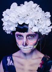 La Muerta (DEARTH !) Tags: anabeiting strobist denver dayofthedead blacklight uv portrait woman colorado halloween dearth girl diadelosmuertos party studio