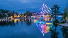 Mikołajki Port bridge at blue hour (Alexander Dülks) Tags: masury 2017 masuria bluehour mikołajki blauestunde masuren rainbow brücke regenbogen mazury bridge poland thebluehour