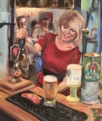 The Barmaid (Captain Wakefield) Tags: painting acrylic woman barmaid serving art impressionist figurative interior contemporary samuel burton oil lady pub