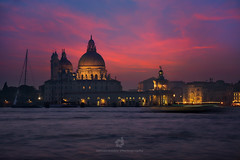 Basilica of St Mary of Health (Santa Maria della Salute) at Night, Venice (fesign) Tags: architecture basilica buildingexterior builtstructure canal cathedral church culture dome europe europeanculture famousplacepinkilluminated italian italy landmark majestic mediterraneanculture night outdoors photography santamariadellasalute sky southerneurope sunset tourism touristresort travel traveldestinations unescoworldheritagesite vacations veneto veniceitaly