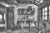 Soiled (LaR0b) Tags: ue urban urbex exploration exploring decay abandoned lar0b lost hdr highdynamicrange maison house home bathroom door mirror blackwhite bw black white monochroom monochrome mono sink alexa
