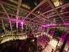 Skygarden Night (Wormsmeat) Tags: night dusk skygarden 20fenchurchst bar restaurant pink stairs olympus penf fisheye samyang75mm shrubs plants social london skyline skyscrapers financialarea