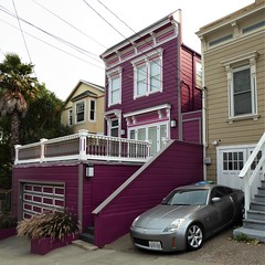San Francisco, CA, Noe Valley, Boldly Painted Victorian Lady (Mary Warren 13.5+ Million Views) Tags: sanfranciscoca nature flora plants architecture building house residence maroon stairs porch noevalley