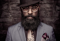 Model: @blvckb3vrd (NMB_Photogarphy) Tags: pablo meilan düsseldorf germany photographer photography portrait retrato art photoshop canon man guy boy suit hat beard glasses studio indoor wall headshot