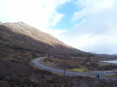 In the shadow, Cluanie, Highlands of Scotland, Feb 2018 (allanmaciver) Tags: cluanie viewpoint eastwards curve a87 highlands scotland shade shadow light blue sky clouds loch stop allanmaciver