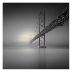 Ponte 25 de Abril III (Vesa Pihanurmi) Tags: bridge ponte ponte25deabril lisbon lisboa fog architecture mist monochrome longexposure