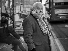 Melancholy Monday (Leanne Boulton) Tags: portrait urban street candid portraiture streetphotography candidstreetphotography candidportrait streetportrait eyecontact candideyecontact streetlife sociallandscape old elderly man male face expression eyes look emotion feeling mood dour misery miserable mouth scarf cold winter tone texture detail depthoffield bokeh public transport bus stop naturallight outdoor light shade city scene human life living humanity society culture people canon canon5d 5dmkiii 70mm ef2470mmf28liiusm black white blackwhite bw mono blackandwhite monochrome glasgow scotland uk